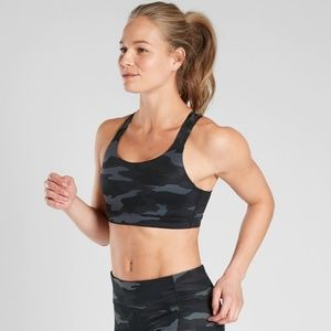Athleta Run Free Black Camo Sports Bra BNWT